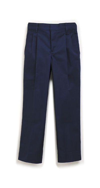Boy's Navy Pleated Front Pant-0