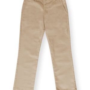 Girls Khaki Plain Front Pant-0