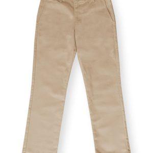 Girls Khaki Plain Front Pant-0