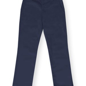 Girls Navy Plain Front Pant-0