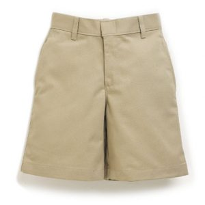 Girls Khaki Plain Front Short-0