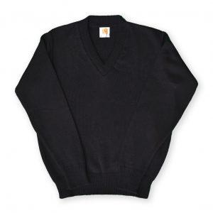 Black V-Neck Pullover Sweater-0