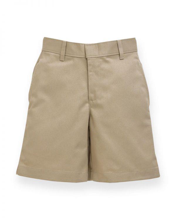 Boy's Khaki Plain Front Short-0