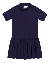 Polo Dress with Ruffled Top and Cornerstone Classical Christian Academy Logo-Navy-YM (10-12)-0