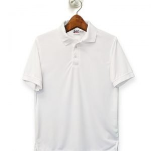 White Performance Polo with Christ the King Catholic School Logo-0